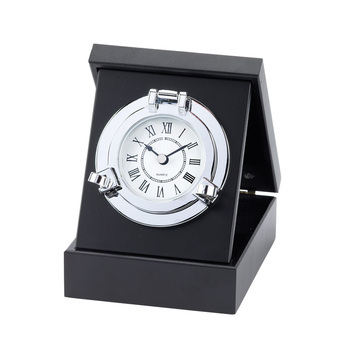 PORTHOLE BOXED CLOCK- CHROMED