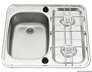 Foto - GAS BURNERS + SINK, S/S, LEFT
