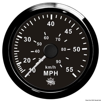 Foto - SPEEDOMETER WITH PITOT TUBE, 0-55 MPH, BLACK, 96 mm